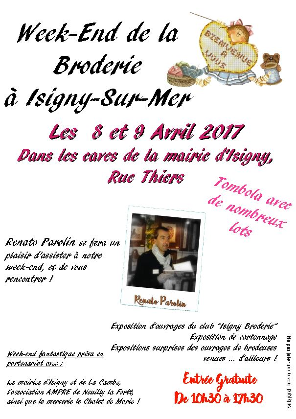 affiche exposition broderie isigny sur mer 8 9 avril 2017